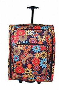 Womens Mens Girlsapprox Size 22 55cm X 40cm X 20cm Sylish Superior Multi Coloured Flowers Wheeled Hand Cabin Flight Bag 22inch Suitable For Ryanair Easyjet Bmi Ba Virgin 55 X 40 X 20 Cm Very Stylish Multi Colour Flowers 22 Inch Approxtelescopic Handle Pus