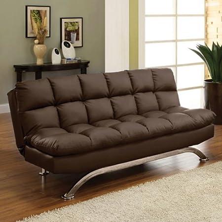 Mussina Contemporary Style Chocolate Leatherette Finish Sofa Futon Bed