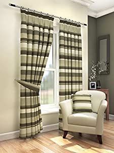 "Modern Fresh Mocha Cream Striped Curtains Lined Pencil Pleat 46"" X 72"" #amas by PCJ SUPPLIES"