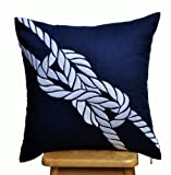 Pillow Cover, Decorative Pillow Cover, Navy Blue Linen Pillow Cover, White Rope, Embroidered, Nautical Cushion Cover, Couch Pillow Cover, Coastal Decor (24 inch x 24 inch)