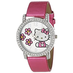 Hello Kitty Women's HK1492 Pink Strap Silver Dial Watch