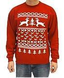 Ugly Christmas Sweater 2 Prancing Reindeer XOXO Tree Heart Adult Red Sweatshirt