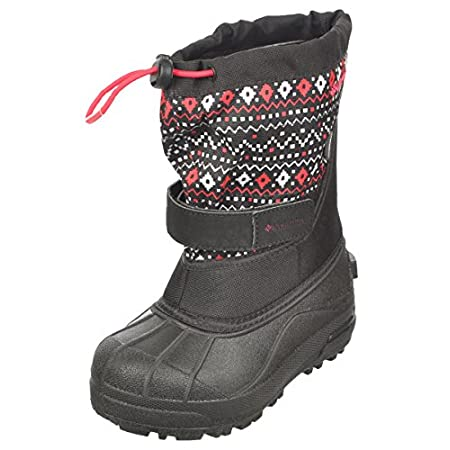 The Columbia Little Girls' Powderbug Plus II Print Boot is a lightweight, supportive winter boot with water- and wind-proof shell and a removable felt liner that ensure no-tears winter outdoor outings. The one-piece injection molded TPR shell and fle...