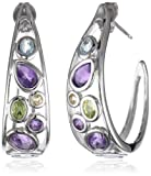 Sterling Silver Multi-Gemstone J-Hoop Earrings