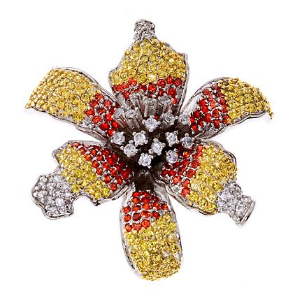 Glorious Ruby Canary C.Z. Diamond Starburst Flower Brooch (Nice Holiday Gift, Special Black Firday Sale)