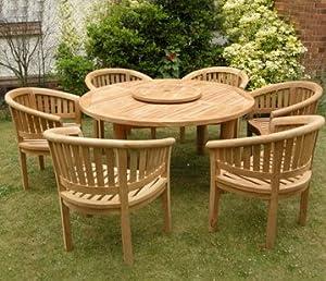 Large teak garden furniture set outdoor wooden table for Hardwood garden furniture
