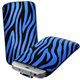 Blue & Black Zebra Print Leather Xylo-Pouch Case Cover with Pull Up Cord: for the Apple iPod Touch 5 / 5th Generation / 5G - 32GB & 64GB