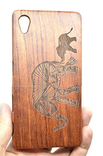 Cassa di Legno di Sony Xperia Z5 Premium, PhantomSky[Serie di Lusso] Qualit à Premium Cover in Bambù / Legno Naturale per il tuoSmartphone - Elefante Legno Rosa(Rose Wood Elephant)