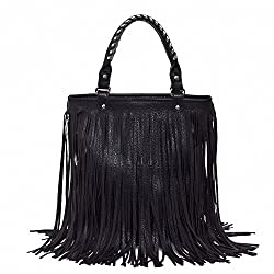 Dawdyfu Women Faux Fringe Tassel Shoulder Bag Big Casual Tassels Hobo Handbag (black)