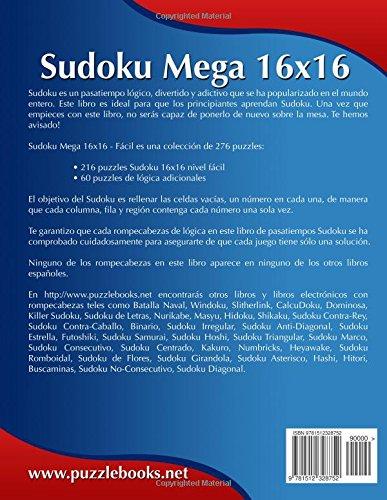 Sudoku Mega 16x16 - Fácil - Volumen 30 - 276 Puzzles: Volume 30