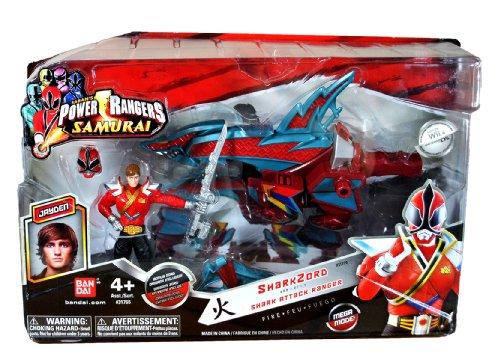 Bandai Year 2011 Power Rangers Samurai Series Action Figure Zord Vehicle Set - SHARK ZORD with 4 Inch Tall Fire Red Shark Attack Ranger