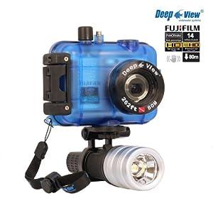 Pack appareil photo etanche plongée HD14 Deep Fujifilm AV200 rouge + caisson étanche 80 mètres + torche LF300 3V