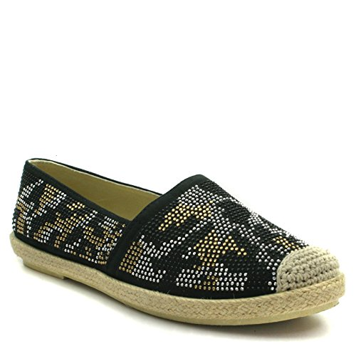 OX497 Onyx Ladies Flat Espadrilles in Black with Rivetting Detail Taglia 40