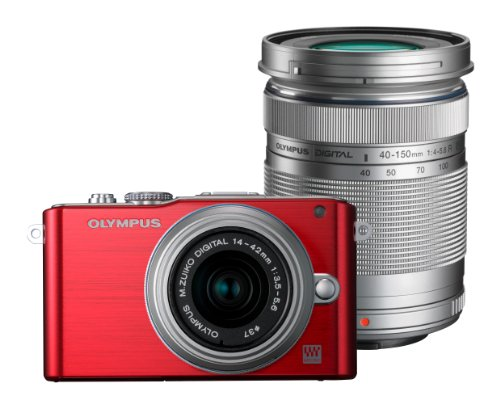 Olympus Pen E-PL3 Compact System Camera  Double Zoom Kit - Red (M.ZUIKO Digital 14 -42mm II R and M.ZUIKO Digital 40 -150mm Lenses)