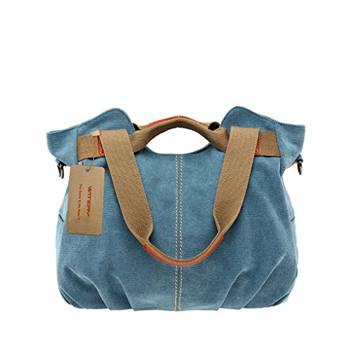 Women's Canvas Tote Bags, WITERY Casual Vintage Canvas Tote Bag Top Handle Bags Shoulder Bag Handbags Shopping Bag for Women Blue (Bosch Pocket Knife compare prices)