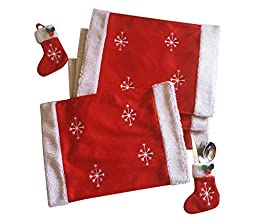 ASSIS Christmas Tableware Placemat Table Runner Mat Cutlery Holder Dinner Decor with Four Socks