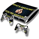 Stuff 10034, Who Is Awesome You Are Awesome, Full Body Skin Sticker Decal Vinyl Wrap Cover Protector with Leather Effect Laminate and Colorful Design for PS3 Play Station 3 Slim Game Console and 2 Controllers.