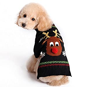 HOMEDECO Pet Dog Cat Sweater Puppy Turtleneck Cartoon Reindeer Christmas Apparel