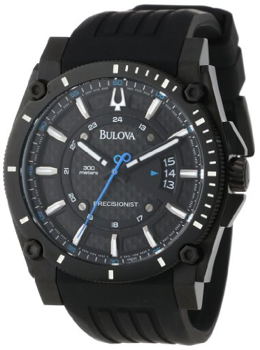Bulova Men's 98B142 Precisionist Champlain Black Dial Rubber Strap Watch