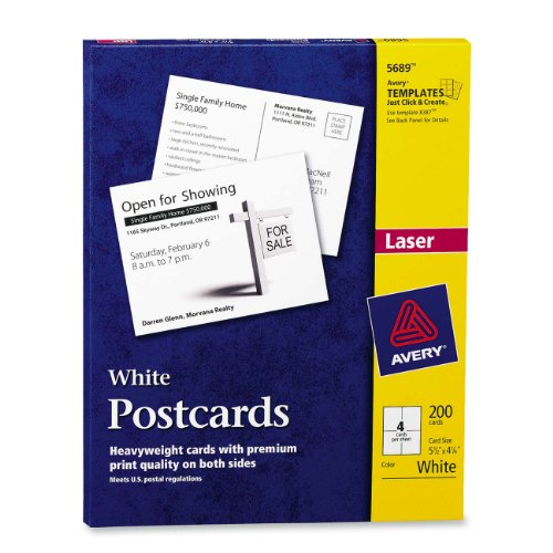 Avery Avery Postcards For Laser Or Inkjet Printer, 5.5 X 4.25 Inches, White, 200 Per Box (05689)