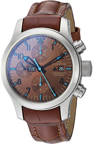 Fortis-Mens-6561095-LC08-Blue-Horizon-Chronograph-Analog-Display-Automatic-Self-Wind-Brown-Watch