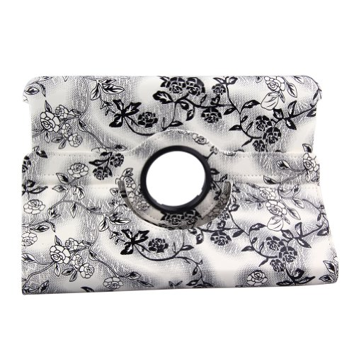 Generic 360 Degrees Rotating Stand (Black&White Flower) Luxury Leather Case For Kindle Fire Hd 8.9' Inch With Smart Cover Wake/Sleep Function