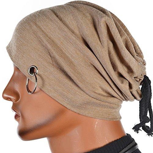 Men Ring Lacing Beanie Thin Hip-Hop Skull Cap Unisex Bd (Khaki)