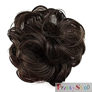 Scrunchy Scrunchie Bun Updo Hairpiece Hair Ribbon Ponytail Extensions brown Curly or Messy