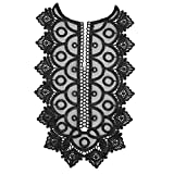 1Piece Black Embroidered Lace Neckline Collar Embellishment Applique Patches