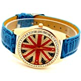 Conbays Blue Uk Flag Round Dial Crystal Girl Leather Quartz Wrist Watch Women Gift Luxury