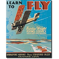 Learn To Fly Bi Wing Airplane Retro Vintage Tin Sign Tin Sign  13x16
