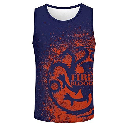 Fire and Blood Three-Headed Dragon Men's Vest Top L