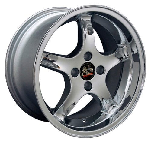 17x9 Wheel Fits Ford - Mustang 4-Lug Cobra R Style Chrome Rim- REAR (1993 Ford Mustang Cobra compare prices)