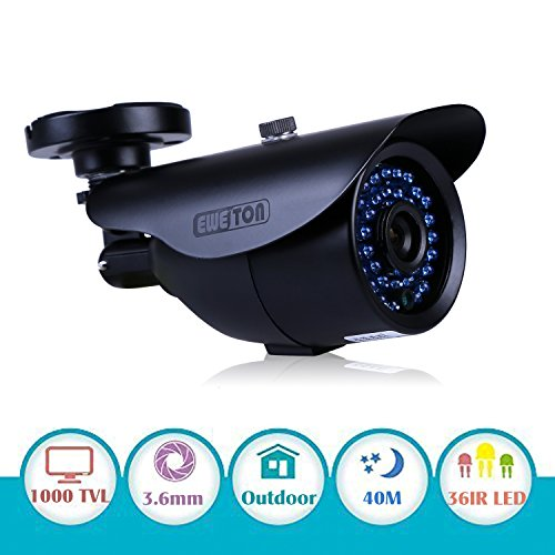 "Cheapest Price! EWETON 1/3"" 1000TVL 3.6mm Lens 960H 42 Led Had IR Cut 120Feet Night Vision Outd..."