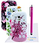The Friendly Swede Bundle of 3 Flower TPU Gel Cases for Samsung Galaxy S3 III Mini i8190 + Hot Pink 4.5 Stylus Pen + Screen Protector + Cleaning Cloth in Retail Packaging - ONLY Compatible with Galaxy S3 Mini i8190