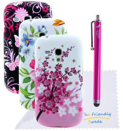 The Friendly Swede Basics - Bundle Of 3 Samsung Galaxy S3 Iii Mini I8190 Flower Tpu Gel Cases + Stylus Pen + Screen Protector + Cleaning Cloth