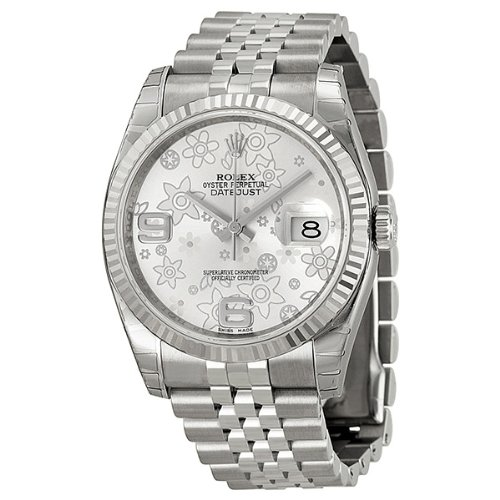 Rolex Datejust Silver Floral Dial White Gold Bezel Stainless Steel Ladies Watch 116234SAFJ