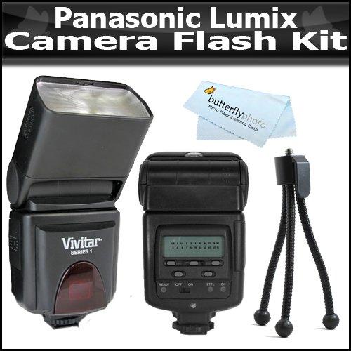 Flash Kit For The Panasonic Lumix DMC-G1, DMC-GH1, DMC-GH2, DMC-L10, DMC-GF1, DMC-GF2, DMC-G10, DMC-G2 DMC-G3 Digital SLR Cameras Includes Vivitar DF-293 TTL LCD Bounce Zoom Swivel DSLR AF Flash + Mini Tripod + MicroFiber Cleaning Cloth