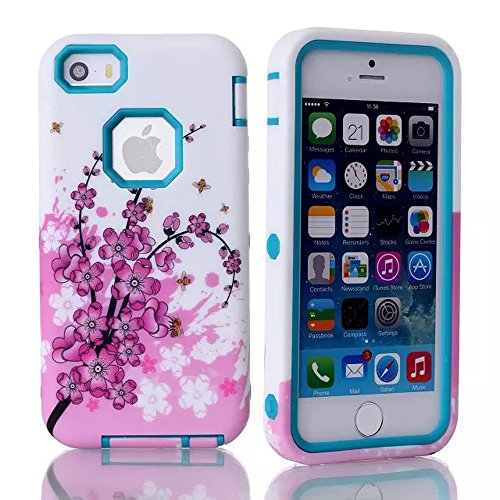 Meaci® Cellphone Case For Iphone 5C Case 3 In 1 Combo Hybrid Case With Rose Flower Smooth Luxury Pattern (Monthly Rose Type A Sky Blue)