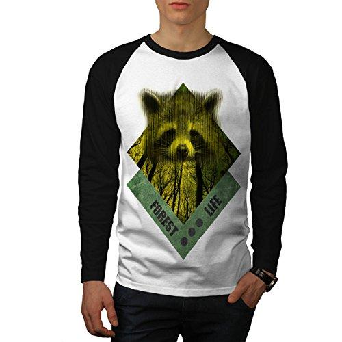 raccoon-forest-life-yellow-wood-men-new-white-black-sleeves-xl-baseball-ls-t-shirt-wellcoda
