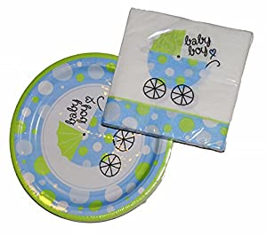 boy baby shower plates and napkins kitchen dining