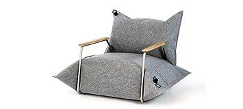 MALAFOR-Sessel mit Armlehnen-Aufblasbare Kissen in aus Filz genähten Schonbezugen mit aus Eichenholz