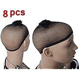8 PCS Good Quality Black Cosplay Wig Hair Weaving Cap Liner Stretchable Net Mesh Fishnet Elastic Snood