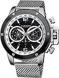 Akribos XXIV Men's AK515SSB Conqueror Swiss Multifunction Black Dial Silver-tone Stainless Steel Mesh Bracelet Watch