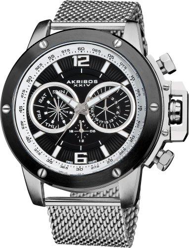 Akribos-XXIV-Mens-Conqueror-Swiss-Multifunction-Silver-tone-Stainless-Steel-Mesh-Bracelet-Watch