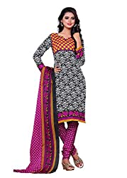SayShopp Fashion Women's Unstitched Regular Wear Cotton Printed Salwar Suit Dress Material (ZDM-15_White,Pink_Free Size)