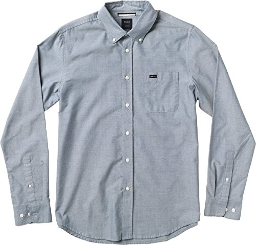 RVCA Men's That'll Do Oxford Long Sleeve Woven Shirt, Distant Blue, X-Small
