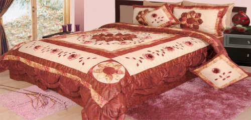 Dada Bedding Bm6109L Flower Polyester Patchwork 5-Piece Comforter Set, Queen/Full, Burgundy