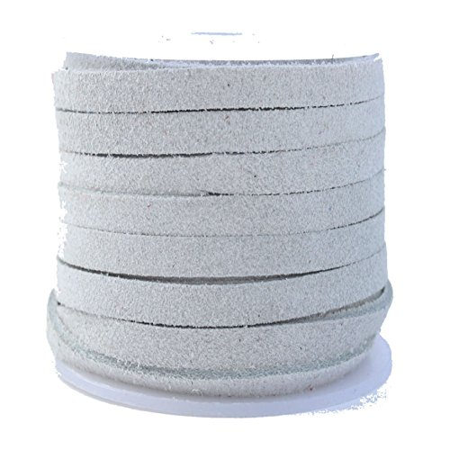 Cheapest Price! Genuine Flat Suede Leather Cord, 3.0 millimeter White, 10 Meter Spool