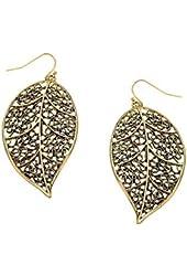 Beautiful Leaf Gold Plated Dangle Earrings